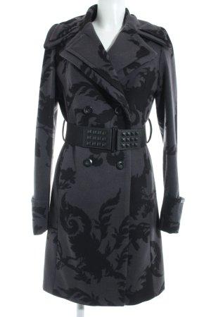 Dept Abrigo de lana gris antracita estampado floral elegante