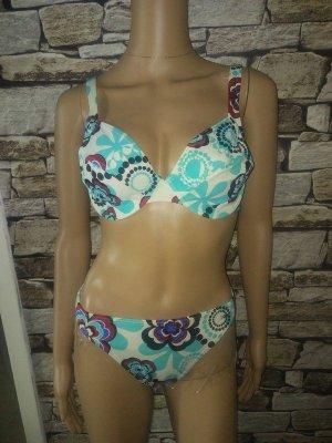 Etirel Bikini turkoois-wit Gemengd weefsel