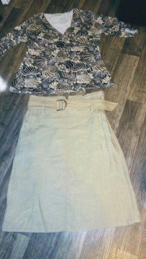Cambio Asymmetry Skirt oatmeal-cream linen