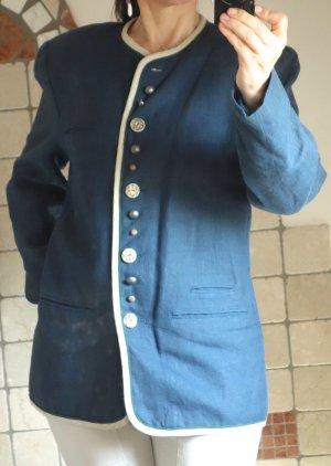 Der Wildschütz, zünftige Trachtenmode, Damen Jacke, Janker / Trachtenjacke, Blazer, Dirndljacke, Leinen, Trachten, Trachtenjacke, blau, beige, individuelle, schöne Knöpfe, hochwertig, TOP Marke, Vintage, TOP Zustand, wenig getragen, hervorragender Zustand