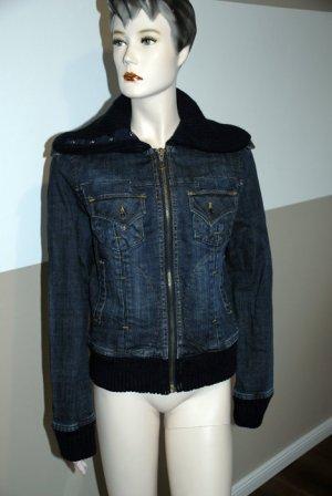 Derbe Jeans-Jacke für den Herbst, mit Strick-Kragen