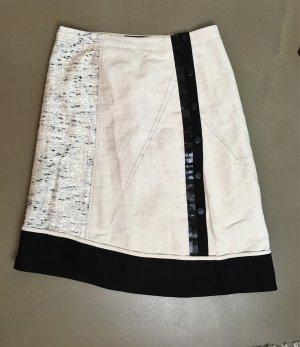 * DEREK LAM *  Midi Rock asymetrisch Materialmix  Creme beige schwarz Druckknöpfe