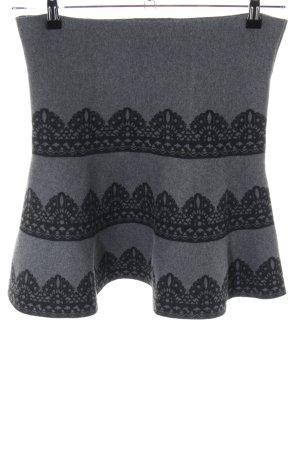 Derhy Jupe corolle gris clair-noir motif graphique style décontracté