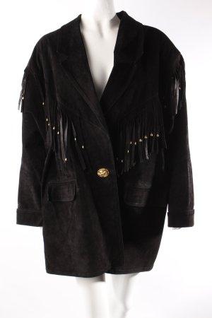 Deride Moda Fransen Wildlederjacke schwarz