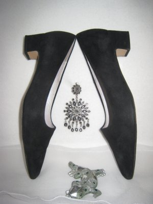 Peter Kaiser Lace Shoes black-silver-colored leather