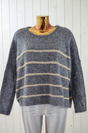 DES PETITS HAUTS Damen Pullover Strick Grau Gold Mohair Lurex Gr.T0 Neu!