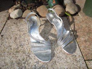 Sandalias de tacón de tiras color plata
