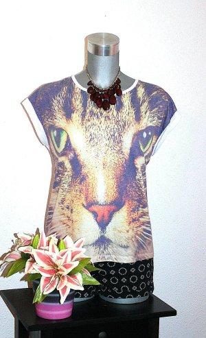Design by CRO H&M Shirt Thirt gr. 44/46 L Katze Print Oversize