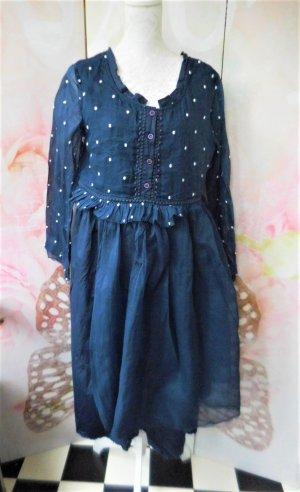 Balloon Dress dark blue-white cotton