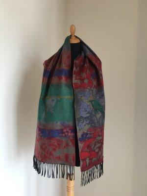 Design Muster Vogel Blumen grün blau rot bunt Farbe cashmink pashmina Schal kuschelig poncho cape xl