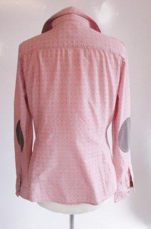 Design Tom Tailor M 38 Hemd Bluse Alt Rosa Weiß Punkte Karo Cord Braun Ellenbogen Patches