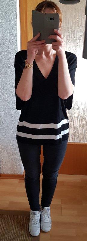 designed by STEFFEN SCHRAUT Oversize Strick-Shirt Sommer-Pulli schwarz-weiß XS