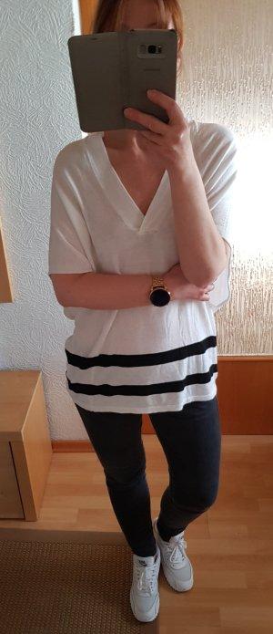 designed by STEFFEN SCHRAUT Oversize Strick-Shirt Sommer-Pulli weiß-shwarz XS-S