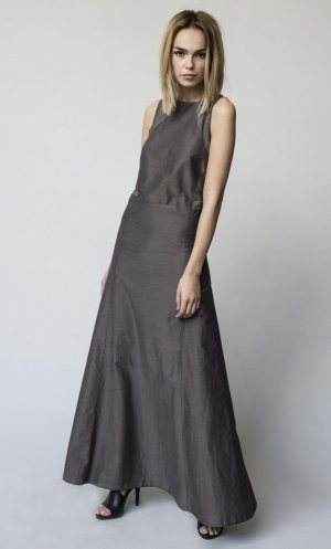 Designer Abendkleid Taupe Gr. S