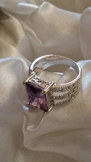Zilveren ring zilver-lila