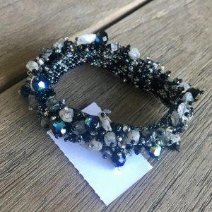Designer Armband aus Glasperlen und Natursteinen