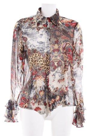 designer basics Langarm-Bluse florales Muster extravaganter Stil