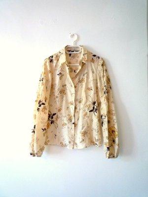 *Designer*Bluse, 100% Seide, weizengelb, asiatisches Muster