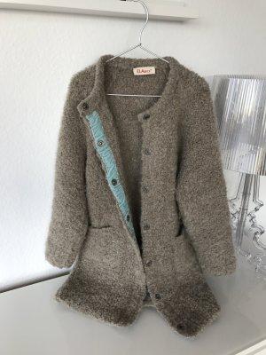 Manteau en laine gris brun