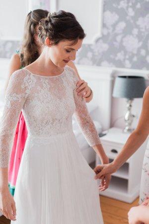 Vestido de novia multicolor Seda