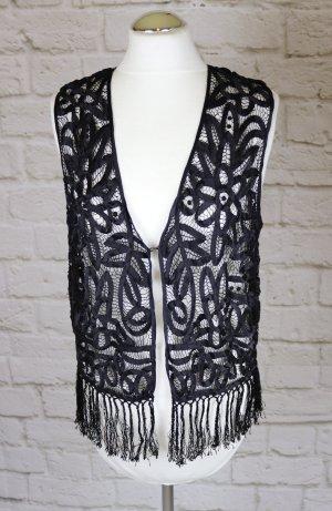 Fringed Vest black silk