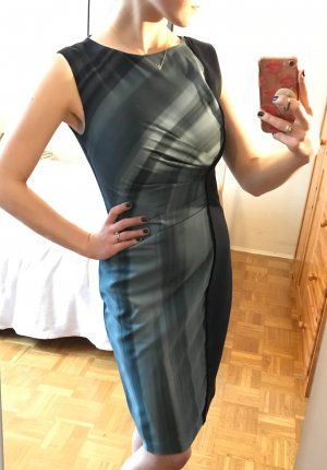 Designer Etuikleid Tahari Gr. 34 XS dunkelblau Kleid elegant büro business