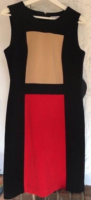Designer Etuikleid von Calvin Klein in schwarz/ rot/ beige Gr.10/36-38