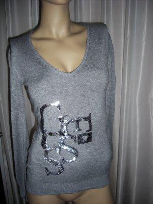 Designer Feinstrick Pullover GUESS   Gr 38   Silber  NP 129,00 euro Neuwertig