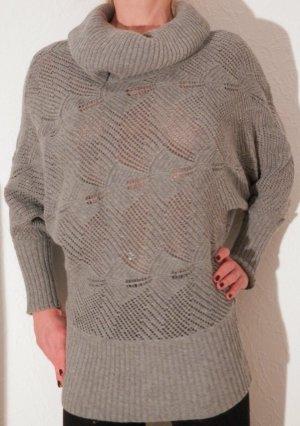 Designer Fledermaus Rollkragen Strickkleid Pullover edler Oversize Longpulli