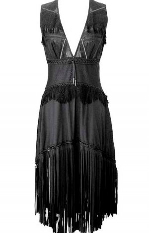 High - Everday Couture by Claire Campbell Fringed Dress black polyester
