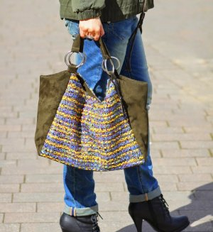 Designer Handtasche aus Alcantara Leder, Wolle, Seide von Lieb Ju gemustert Neu