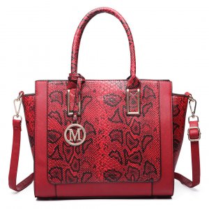 Carry Bag raspberry-red-black imitation leather