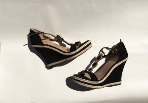 Wedge Sandals black suede
