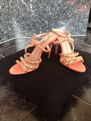 Pura Lopez Strapped High-Heeled Sandals apricot leather