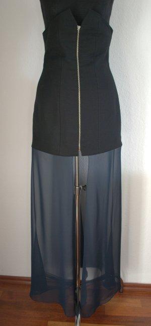Designer High Waist Rock schwarz+blau handmade PFEIL