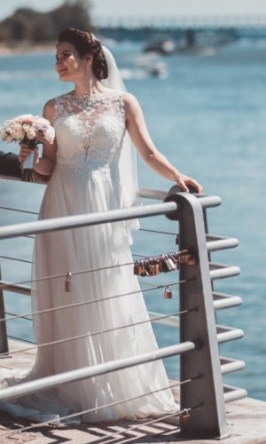 Robe de mariée crème-blanc cassé