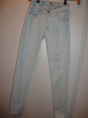 7 For All Mankind Vaquero skinny azul pálido Algodón