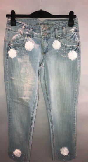 Jeans 3/4 multicolore coton