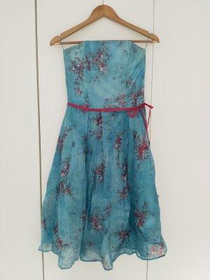 Off the shoulder jurk roze-lichtblauw Zijde