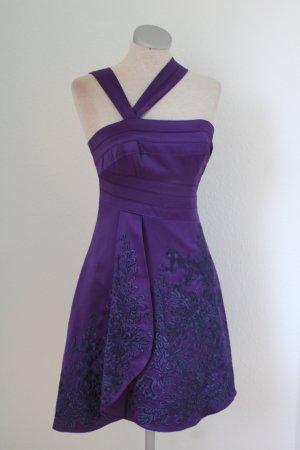 Designer Kleid kurz festlich Karen Millen Abendkleid lila Stickerei Gr. UK 8 EUR 36 S