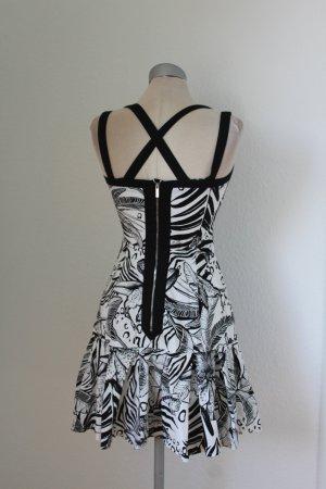 Designer Kleid kurz mini Karen Millen Minikleid schwarz weiß Gr. 34 XS Skaterkleid