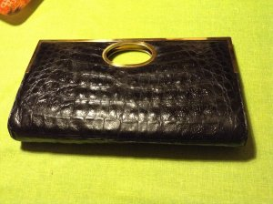 Borsa clutch marrone-nero Pelle