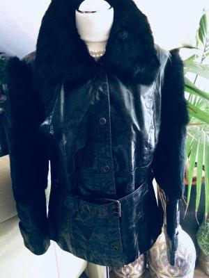 Designer Leder Fell Pelz Mantel Jacke schwarz von CLAN Größe 40