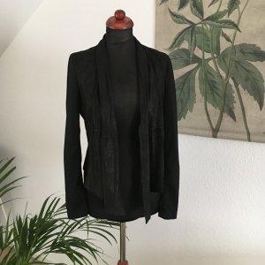 Designer Lederjacke von YAS Zipfeljacke Wasserfalljacke Blazer 36 S NP:149€