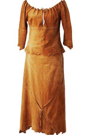 Atos Lombardini Robe en cuir cognac cuir