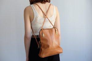 designer lederrucksack camel leather backpack cross straps cleanchic minimal
