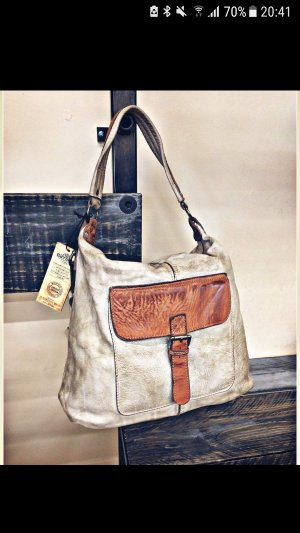 0039 Italy Shoulder Bag oatmeal-cognac-coloured leather