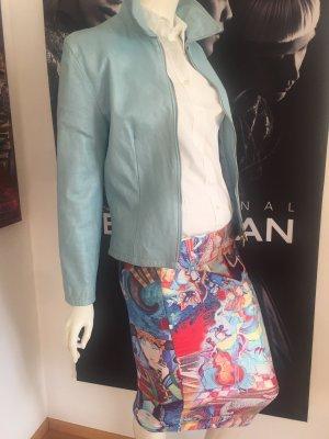 Designer Outfit 34/36 Bluse italy0039  Lederjacke eisblau weiches Leder gefüttert  Rock Kunst  Unikat 34