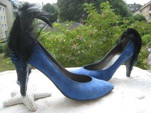 Designer Paris Pierre ´´ Spektakuläre Luxus Schuhe gefederte Absätze Royal Blau NP 337 € Top