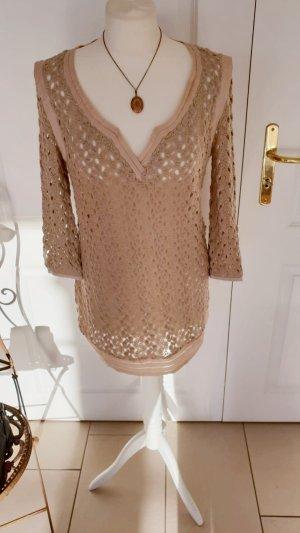 Designer Pullover Ermanno Scervino Bluse Tunika Oberteil Shirt Beige Creme 38